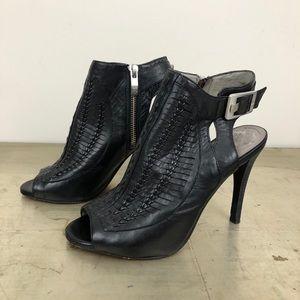 Vince Camuto Asha Braided Leather Peep Toe Booties